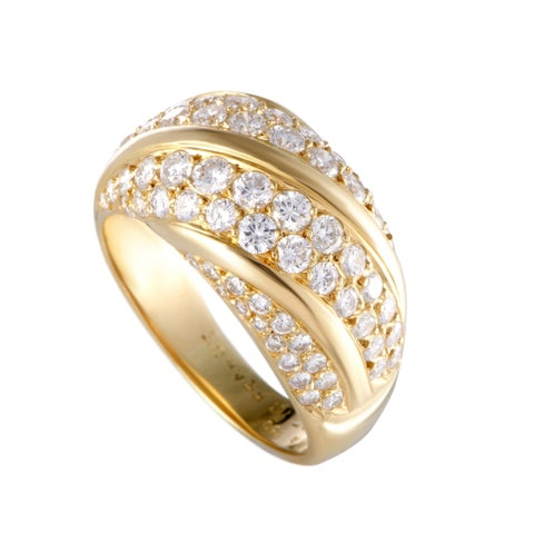 Van Cleef & Arpels Yellow Gold Two-row Diagonal Diamond Pave Band Ring
