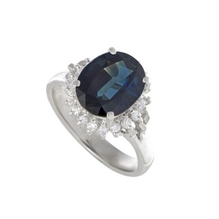 Platinum Diamonds and Oval Sapphire Ring