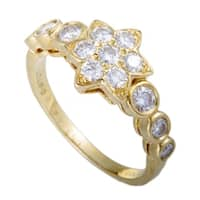Van Cleef & Arpels Vintage Yellow Gold Diamond Flower Band Ring