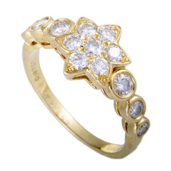 c47000cbb1c9d Shop Van Cleef   Arpels Vintage Yellow Gold Diamond Flower Band Ring ...