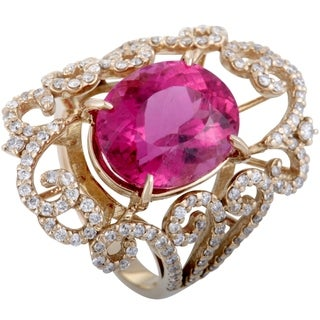 Rose Gold Full Diamond Pave and Pink Tourmaline Cocktail Ring