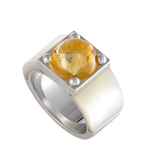 Van Cleef & Arpels White Gold Mother of Pearl and Citrine Cabochon Ring