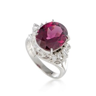 Platinum Round and Tapered Baguette Diamonds Tourmaline Ring