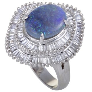 Platinum Tapered Baguette Diamonds and Blue Opal Ring