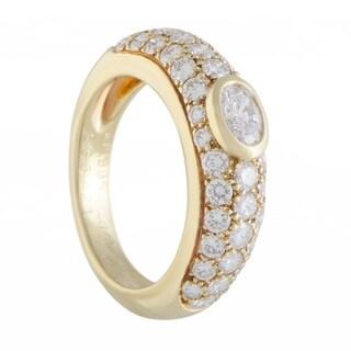 Cartier Yellow Gold Diamond Pave and Bezel Set Diamond Engagement Ring