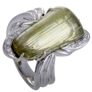 White Gold Diamond and Rutilated Lemon Quartz Ring