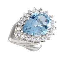 Platinum Diamond and Pear Shaped Topaz Cocktail Ring