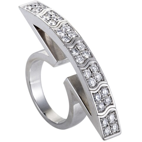 Piaget White Gold Curved Diamond Cocktail Ring