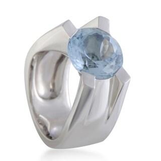 Cartier White Gold Round Aquamarine Ring
