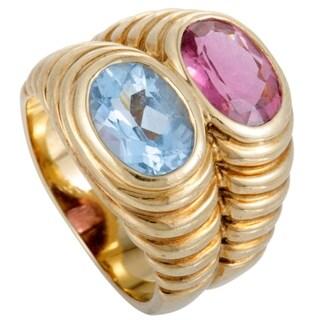 Bvlgari Doppio Yellow Gold Pink Tourmaline and Topaz Double Band Ring