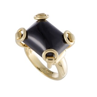 Gucci Yellow Gold Horsebit Onyx Ring