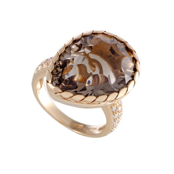 Rose Gold Diamond and Pear Shaped Smoky Topaz Ring