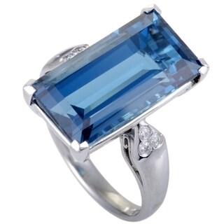 Platinum Diamonds and Rectangular Topaz Ring