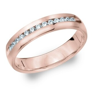 Amore 14KT Rose Gold Men's .25CT Channel Set Diamond Wedding Band
