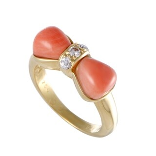 Van Cleef & Arpels Yellow Gold Diamond and Coral Bow Ring