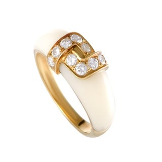 Van Cleef & Arpels Yellow Gold Diamond and White Coral Band Ring