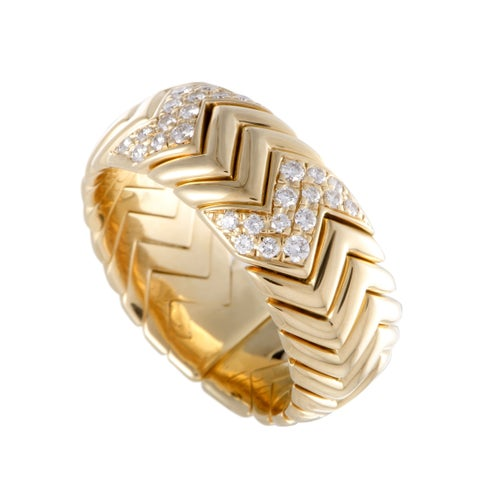 Bvlgari Spiga Yellow Gold Diamond Pave Band Ring