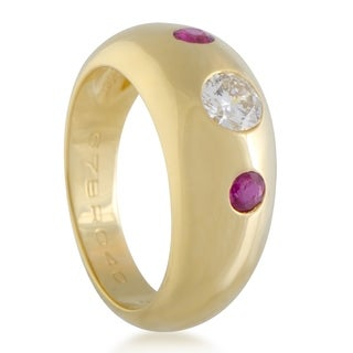 Cartier Yellow Gold Gypsy Set Diamond and Ruby Band Ring
