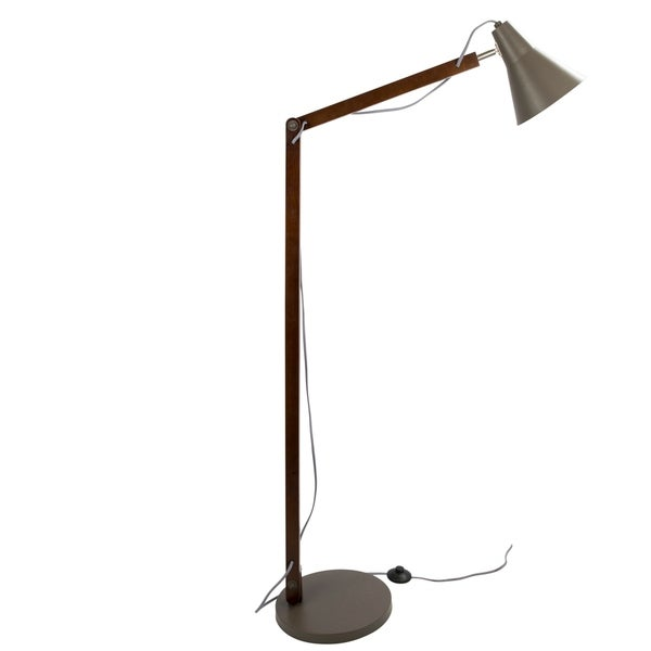 Oregon Industrial Adjustable Wood & Metal Floor Lamp