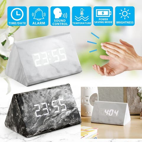 Gearonic Marble Pattern Alarm Clock Modern Decor Desk Digital Clock