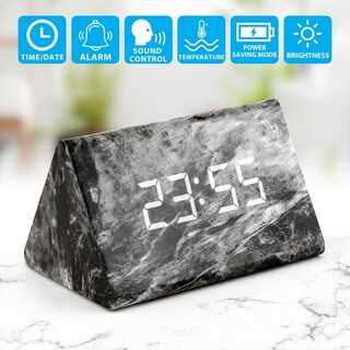 Gearonic Marble Pattern Alarm Clock Modern Decor Desk Digital Clock
