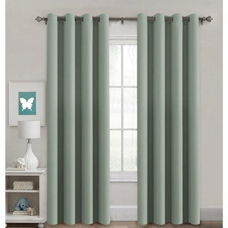 PrimeBeau Blackout Thermal Insulated Grommet Top Soild Curtains 2-Pack