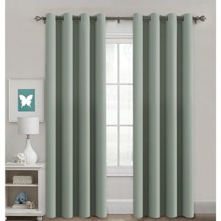 PrimeBeau Blackout Thermal Insulated Grommet Top Solid Curtain Panel Pair
