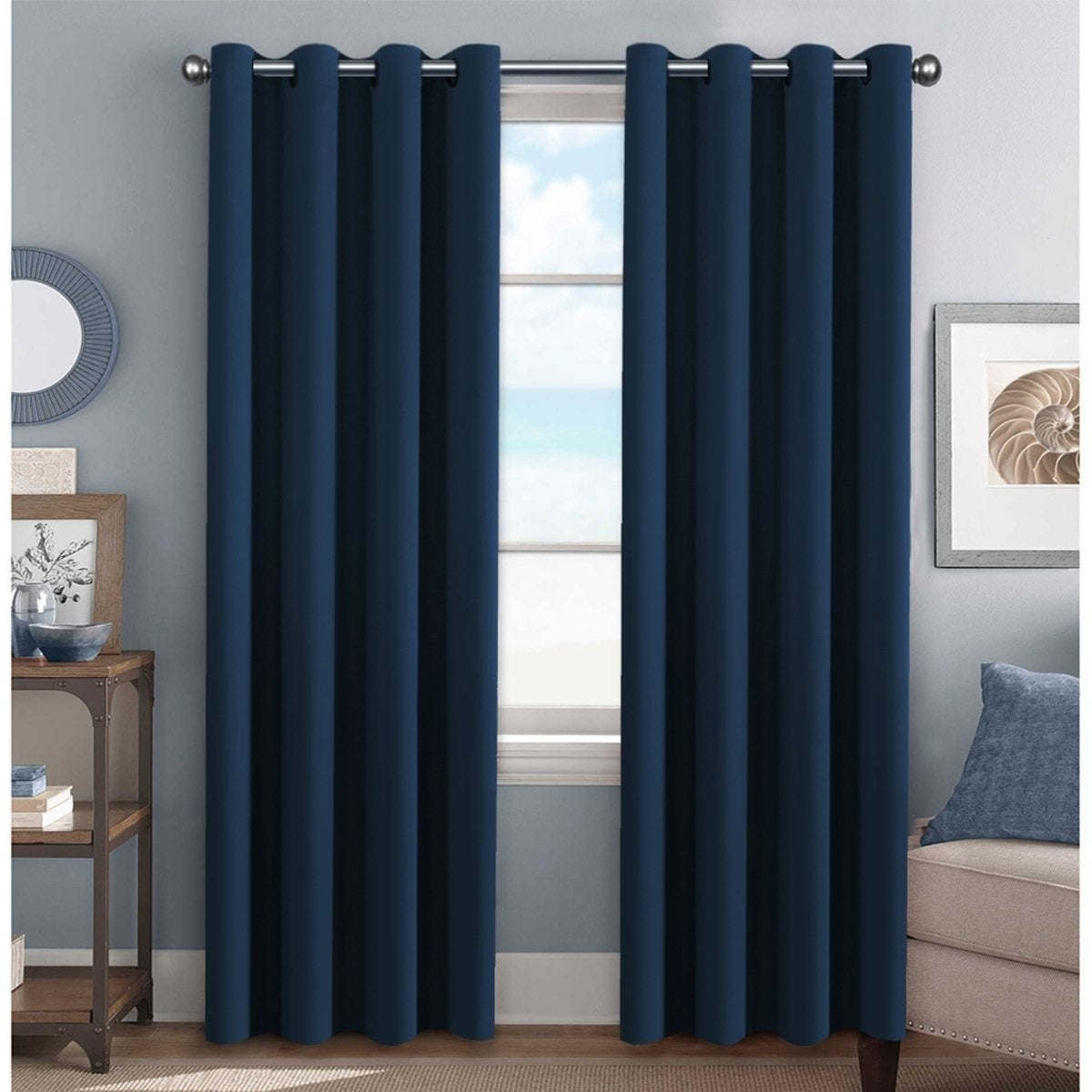 Primebeau Blackout Thermal Insulated Grommet Top Solid Curtain Panel Pair On Sale Overstock 20360802