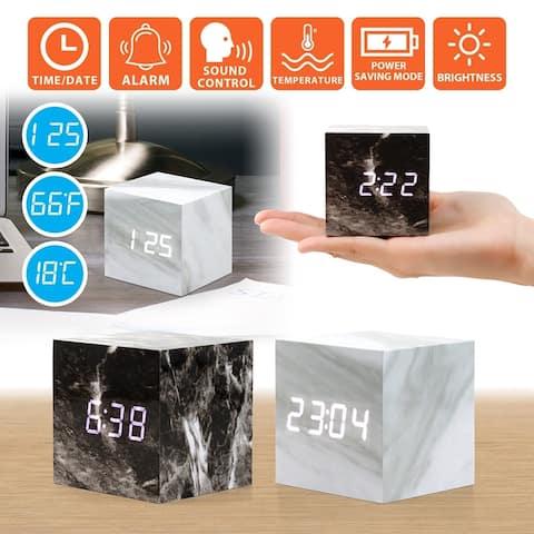 Gearonic Marble Pattern Alarm Clock Multi-function LED Digital Clock