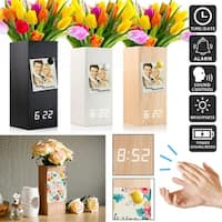 Gearonic Wooden Alarm Clock Vase Wood Magnetic Digital Clock Decor Vase