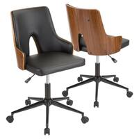 Stella Mid-Century Modern Upholstered Office Chair with Wood Accents