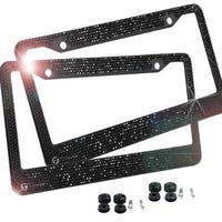 Zone Tech Shiny Bling License Plate Frame - 2-Pack  Crystal  with Mounting Screws - Black