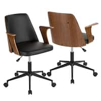 Verdana Mid-Century Modern Upholstered Office Chair with Wood Accents