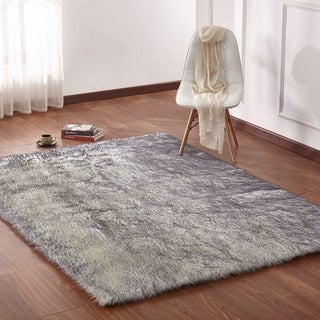 Large Size Faux Shag Area Rug In Off-white/Grey