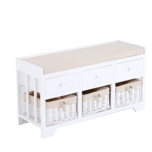 Admirable Shop Homcom White Beige Wood Wicker 3 Drawer 3 Basket Padded Caraccident5 Cool Chair Designs And Ideas Caraccident5Info