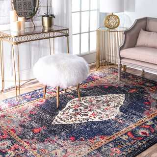 """nuLOOM Traditional Distressed Medallion Navy Square Rug (7'10'' Square) - 7' 10"""" square"""