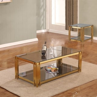 Best Quality Furniture 2-Piece Glass Top Coffee and End Table Set