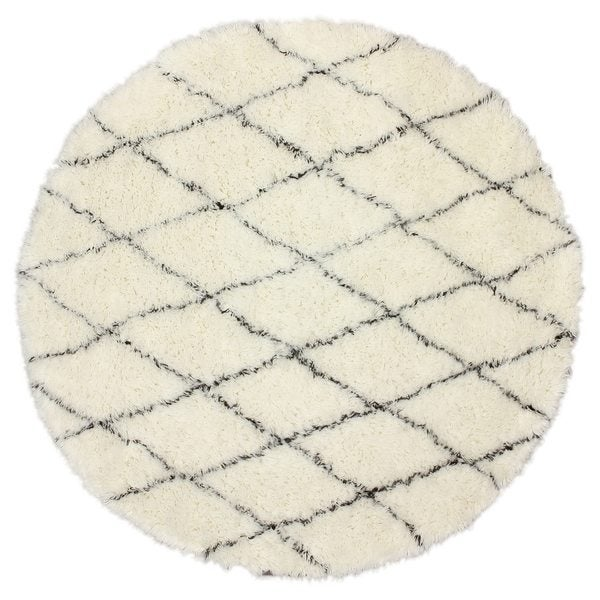 nuLOOM Handmade Moroccan Trellis Wool Ivory Shag - 4'Round