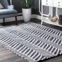 nuLOOM Handmade Chevron Denim Wool Area Rug (4' x 6') - 4' x 6'