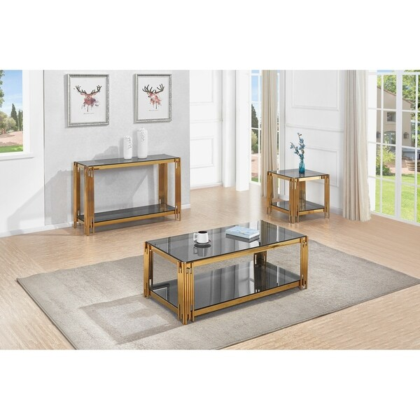 shop best quality furniture 3 piece glass top coffee console and end table set free shipping. Black Bedroom Furniture Sets. Home Design Ideas