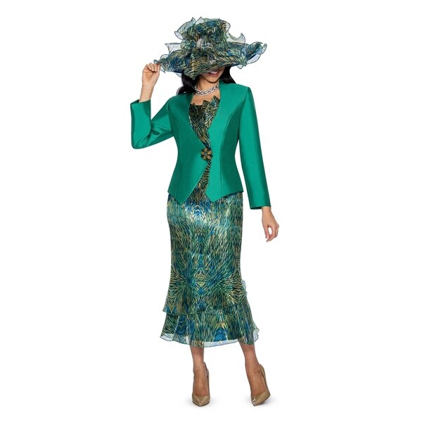 Giovanna Collection Women's 3-piece Silk Twill and Peacock Printed Organza Skirt Suit