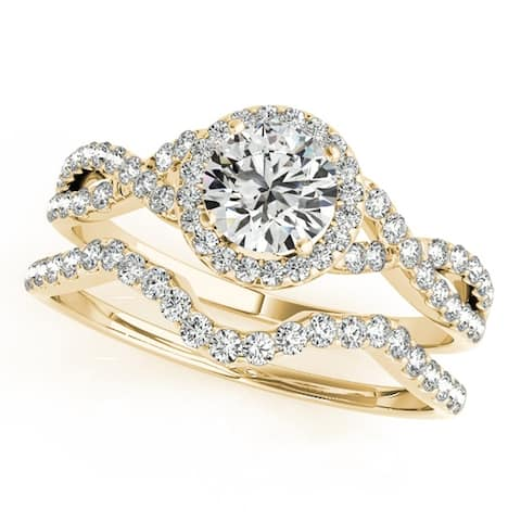 Jewelmore 1/2 Carat Halo Daimond Engagement Bridal Ring Set 14K Solid Yellow Gold (H-I/I2-I3)