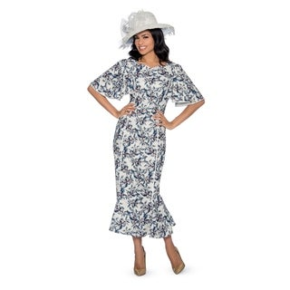 Giovanna Collection Women's 1-piece White&blue with Gold Stamp Printed Long Dress