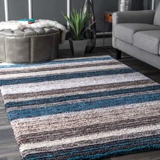 Havenside Home Siesta Handmade Striped Plush Multi Blue Shag Area Rug (3' x 5')