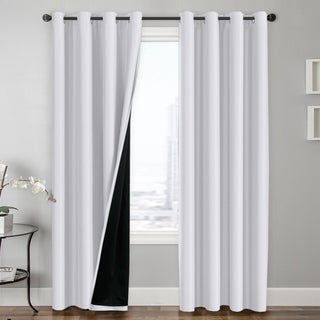 PrimeBeau 100% Blackout Lined Insulated Energy Saving Curtains 2 Pack