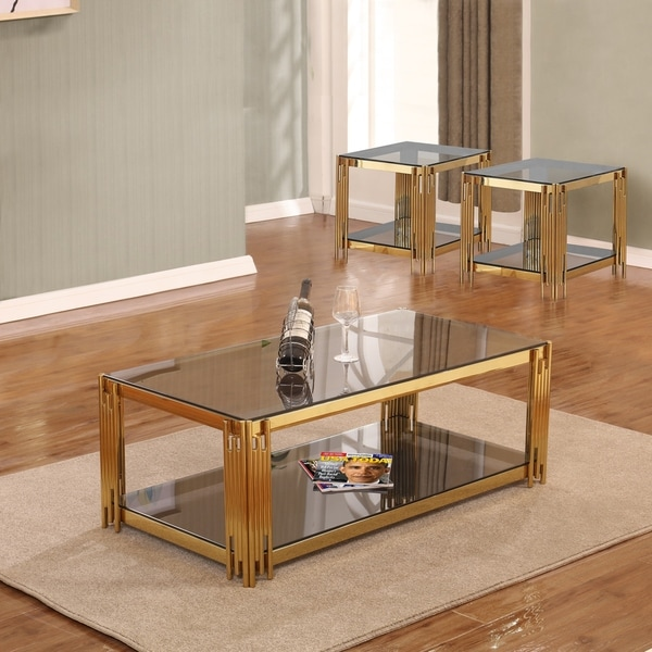 Best Quality Furniture 3 Piece Glass Top Coffee And End Table Set