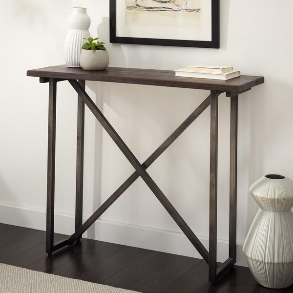 Handmade Wood and Metal Bridge St Console Table (Indonesia)