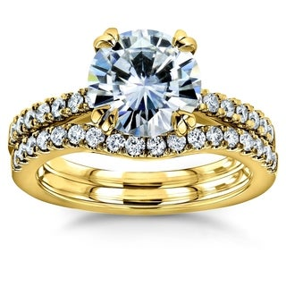 Annello by Kobelli 14k Gold 2 1/3 Carats TGW Round Brilliant Moissanite and Diamond Bridal Rings Set (HI/VS, GH/I)