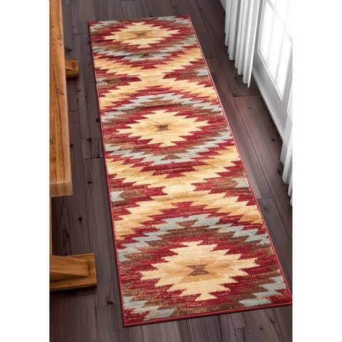 Eastgate Traditional Southwestern Red Runner Rug - 2' x 7'2