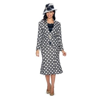 Giovanna Collection Women's 3-piece Polka Dots Brocade Skirt Suit (2 options available)